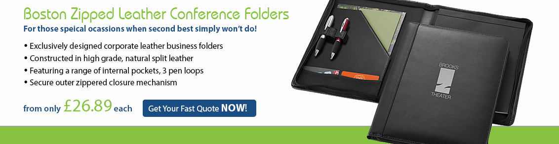 Boston Zipped Leather Conference Folders