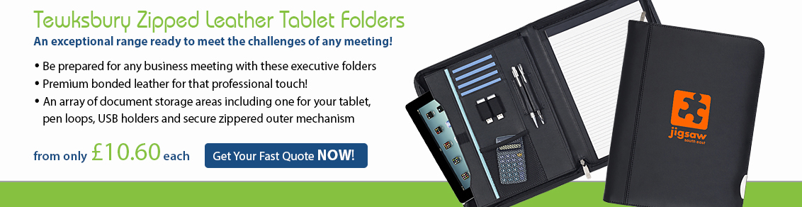 Tewksbury Zipped Leather Tablet Conference Folders