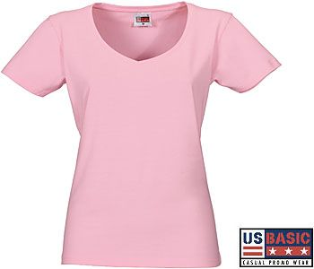 US Basic Super Club Heavy Ladies V-Neck T-Shirts