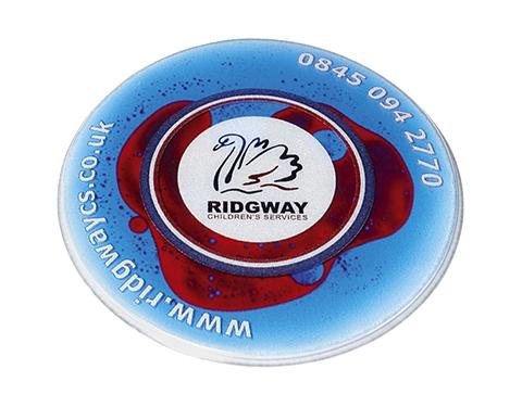 Round Liquid Aqua Branded Coaster