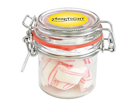 Clip Top Glass Sweet Jars - Peppermint Pillows