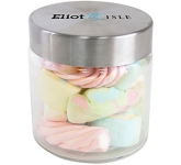 Small Screw Top Glass Sweet Jars - Coloured Marshmallows  by Gopromotional - we get your brand noticed!