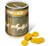 Christmas Carousel Money Box Tins - Chocolate Coins