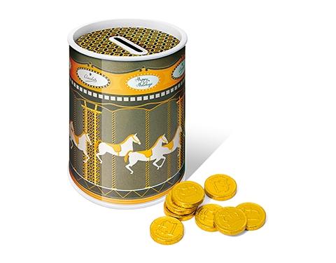 Christmas Carousel Money Box Tins - Chocolate Coins