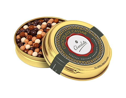 Christmas Gold Caviar Treat Tins - Special Edition Chocolate Pearls