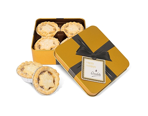 Christmas Gold Treat Tins - Mince Pies