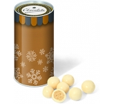 Mini Christmas Snack Tubes - White Chocolate Malt Balls  by Gopromotional - we get your brand noticed!