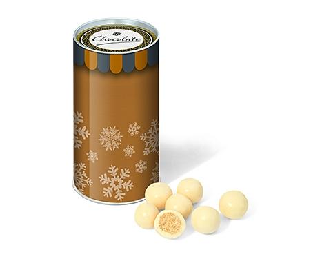 Mini Christmas Snack Tubes - White Chocolate Malt Balls