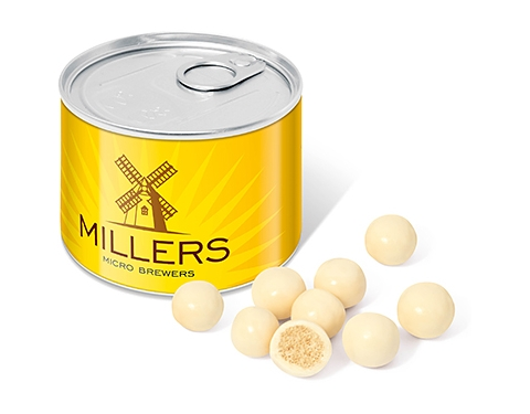 Mini Ring Pull Sweet Tins - White Chocolate Malt Balls