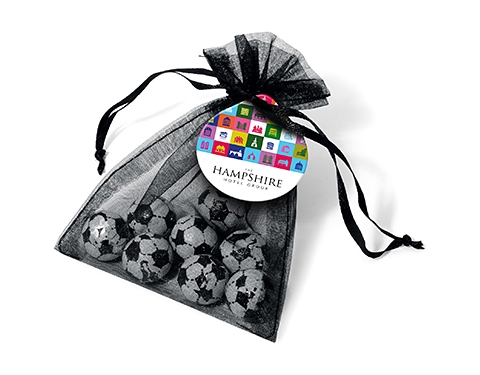 Organza Bags - Foil Wrapped Chocolate Footballs