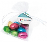 Organza Bags - Foil Wrapped Chocolate Eggs  by Gopromotional - we get your brand noticed!
