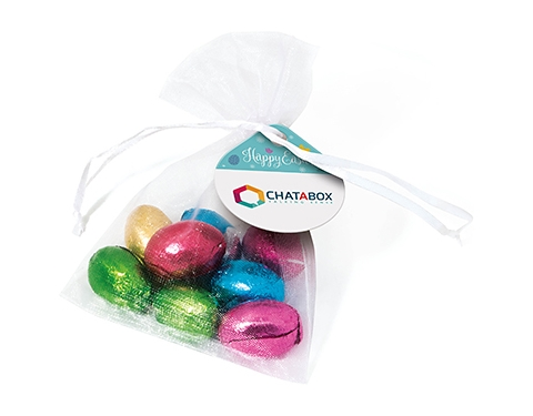 Organza Bags - Foil Wrapped Chocolate Eggs