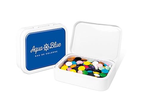 White Sweet Tin - Chocolate Beanies