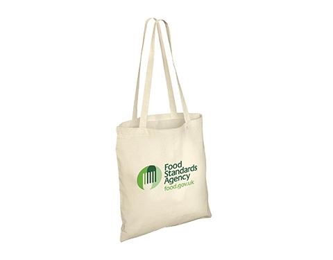 Long Handled Unbleached 4oz Natural Cotton Tote Bag