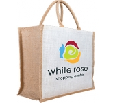 Large Two Tone Natural Promotional Jute Bag  by Gopromotional - we get your brand noticed!