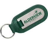 Large Cigar Shaped Die Stamped Satin Medallion Leather Keyring  by Gopromotional - we get your brand noticed!