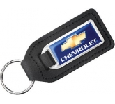 Large Rectangular Epoxy Domed Medallion Leather Keyring  by Gopromotional - we get your brand noticed!