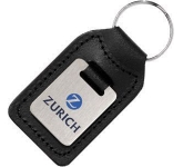 Small Rectangular Die Stamped Satin Medallion Leather Keyring  by Gopromotional - we get your brand noticed!
