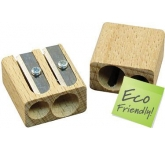 Double Wooden  Pencil Sharpener  by Gopromotional - we get your brand noticed!