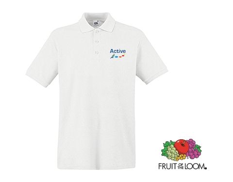 Fruit Of The Loom Printed Premium Polo Shirts - White