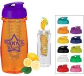 Splash 600ml Flip Top Fruit Infuser Water Bottle