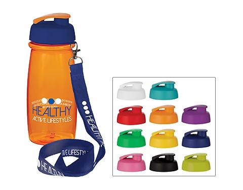 Splash 600ml Flip Top Lanyard Water Bottle