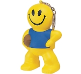 Smiley Rugby Man Keyring Stress Toy