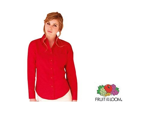 Fruit Of The Loom Women's Fit Long Sleeved Poplin Shirt