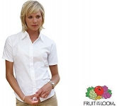 Fruit Of The Loom Women's Fit Short Sleeved Oxford Shirt