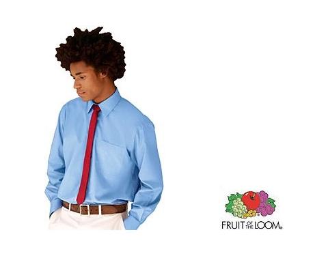 Fruit Of The Loom Long Sleeved Poplin Shirt