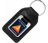 Small Rectangular Epoxy Domed Medallion Leather Keyring  by Gopromotional - we get your brand noticed!