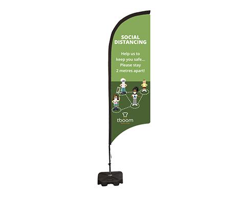 Social Distancing Feather Flag Banner - Medium