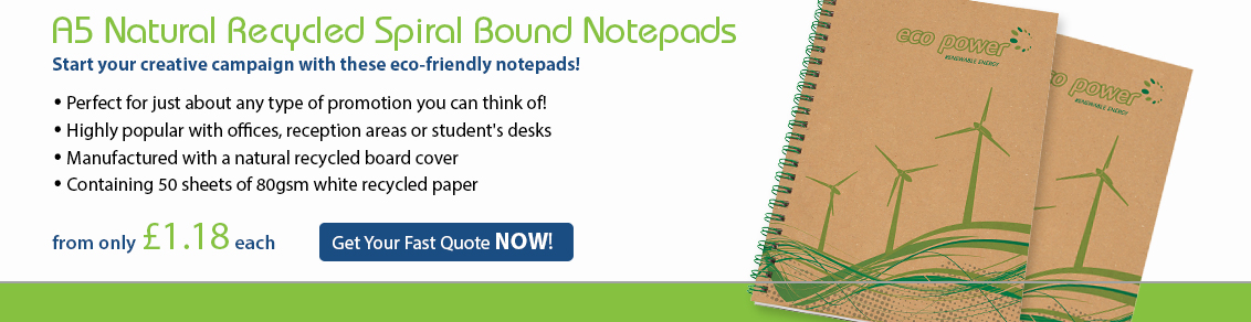 A5 Natural Recycled Spiral Bound Notepads