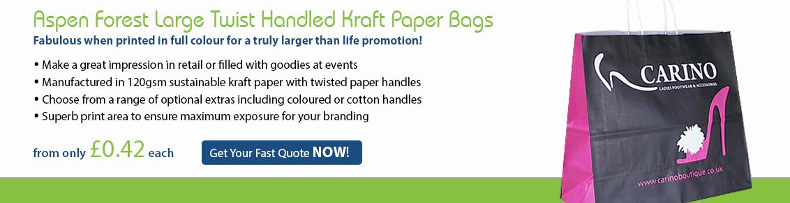 Aspen Forest Large Twist Handled Kraft Paper Bags