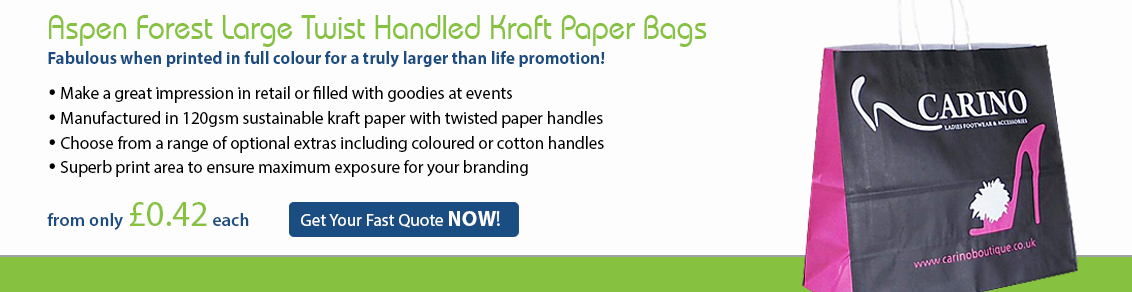 Aspen Forest Large Twist Handled Kraft Paper Bags