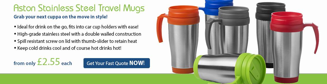 Aston Stainless Steel Travel Mugs
