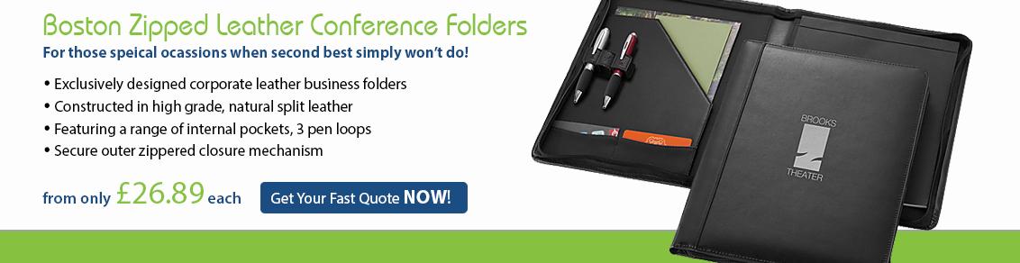 Boston Zipped Leather Conference Folders