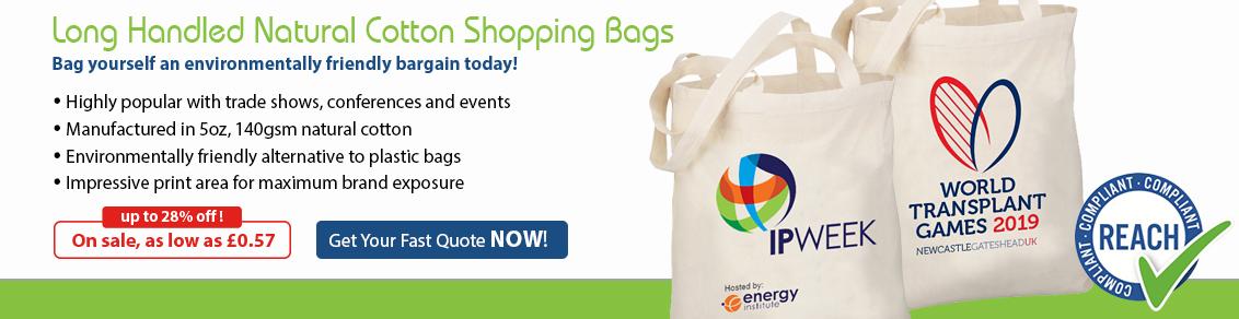 5oz Long Handled Natural Cotton Shopping Bags