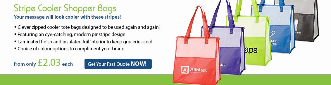 Stripe Cooler Shopper Bags