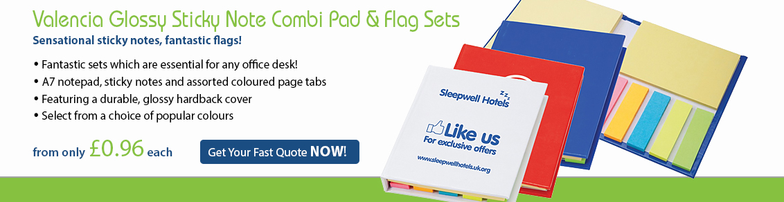 Valencia Glossy Sticky Note Combi Pad & Flag Set