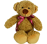 30cm Barney Bear With Bow - Biscuit
