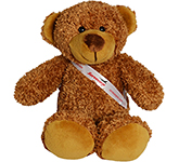 30cm Barney Bear With Ribbon Sash - Chestnut