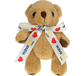 13cm Jointed Honey Bear With Bow