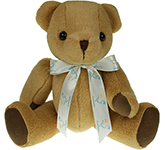 30cm Jointed Honey Bear With Bow