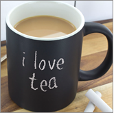 Printed chalk mugs for brand boosting and inspiring witty messages