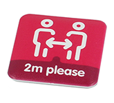 37mm Square Social Distancing Recycled Badge