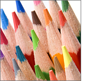 Colouring pencils are affordable choice that allows for maximum brand exposure