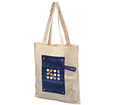 Patch Roll-Up Buttoned Cotton Shopping Bag