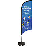 Social Distancing Feather Flag Banner - Small