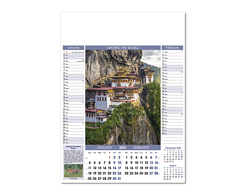 Around The World Memo Wall Calendar